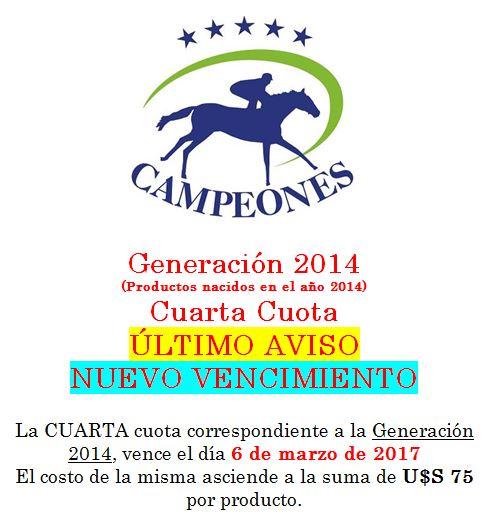 Vencimiento 4ta cuota Campeones – ULTIMO AVISO