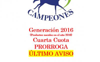Campeones Generación 2016 – Cuarta Cuota
