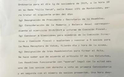 Convocatoria a Asamblea Noviembre 2019