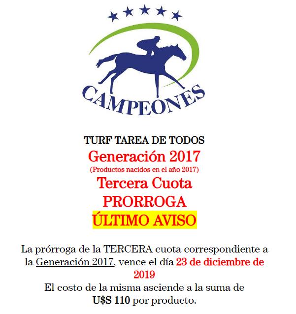 Generación 2017 – Tercera Cuota